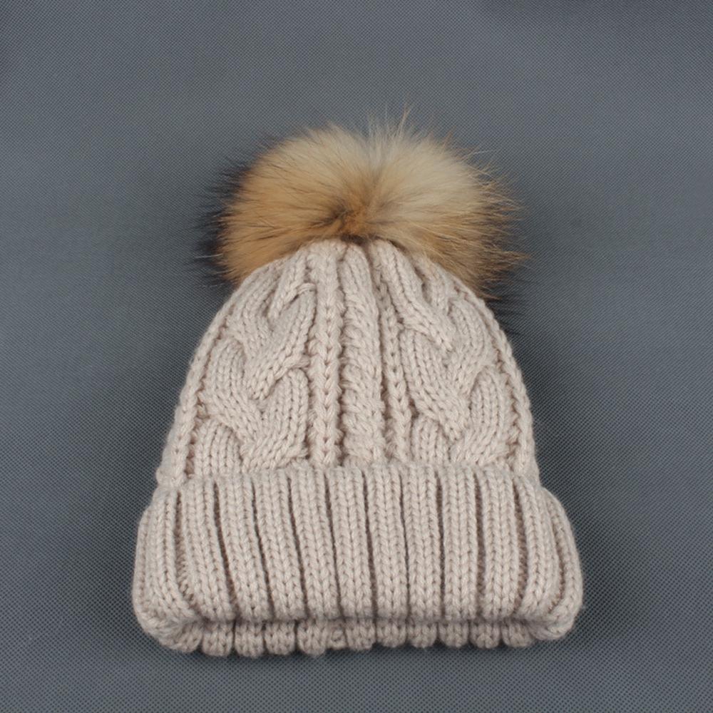 Unisex Kids Ages 2-10 Raccoon Fur Ball Winter Hat Knitted Pom Pom Cap Kids Beanie Hat