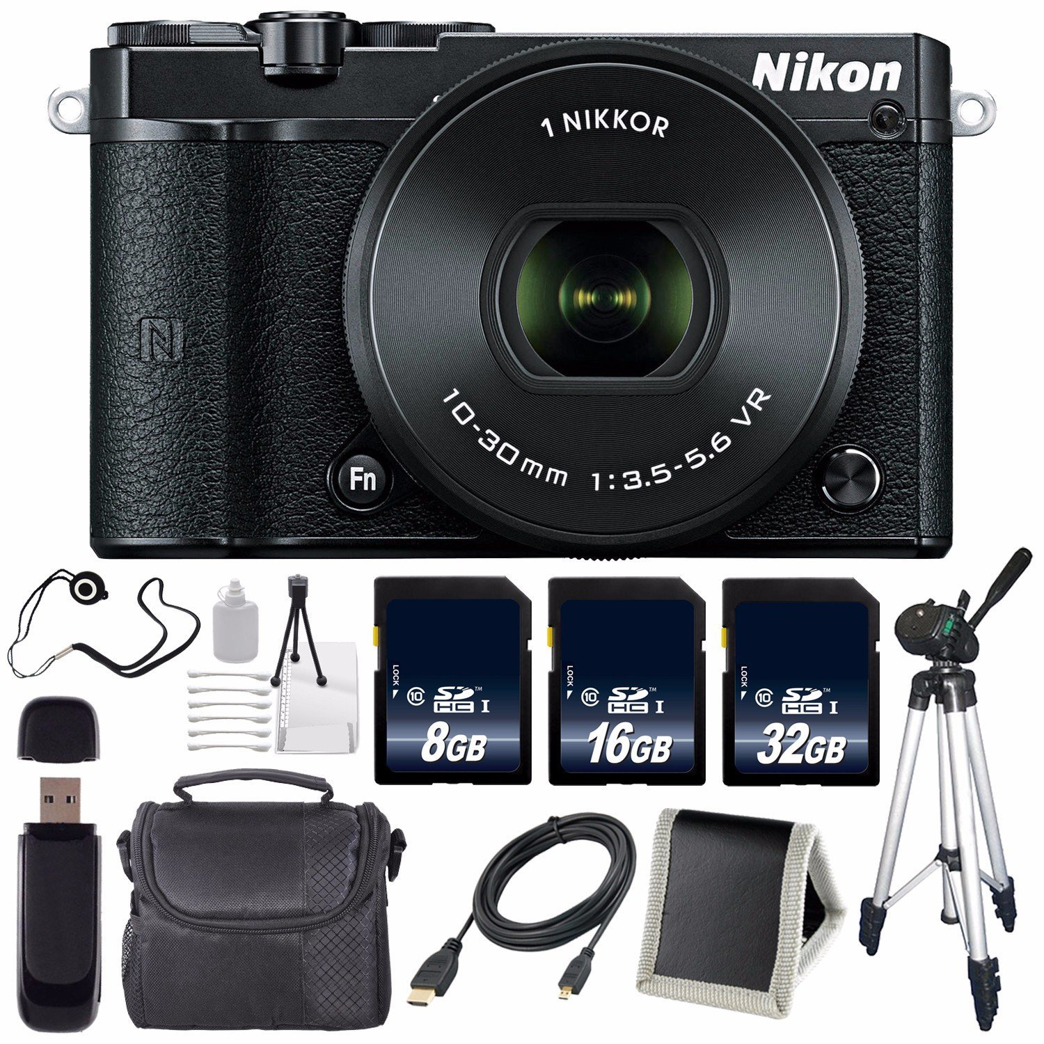 Nikon 1 J5 Mirrorless Digital Camera with 10-30mm Lens (Black) (International Model) No Warranty + Tripod + Carrying Case + Micro HDMI Cable + SD Card USB Reader + Memory Card Wallet Bundle