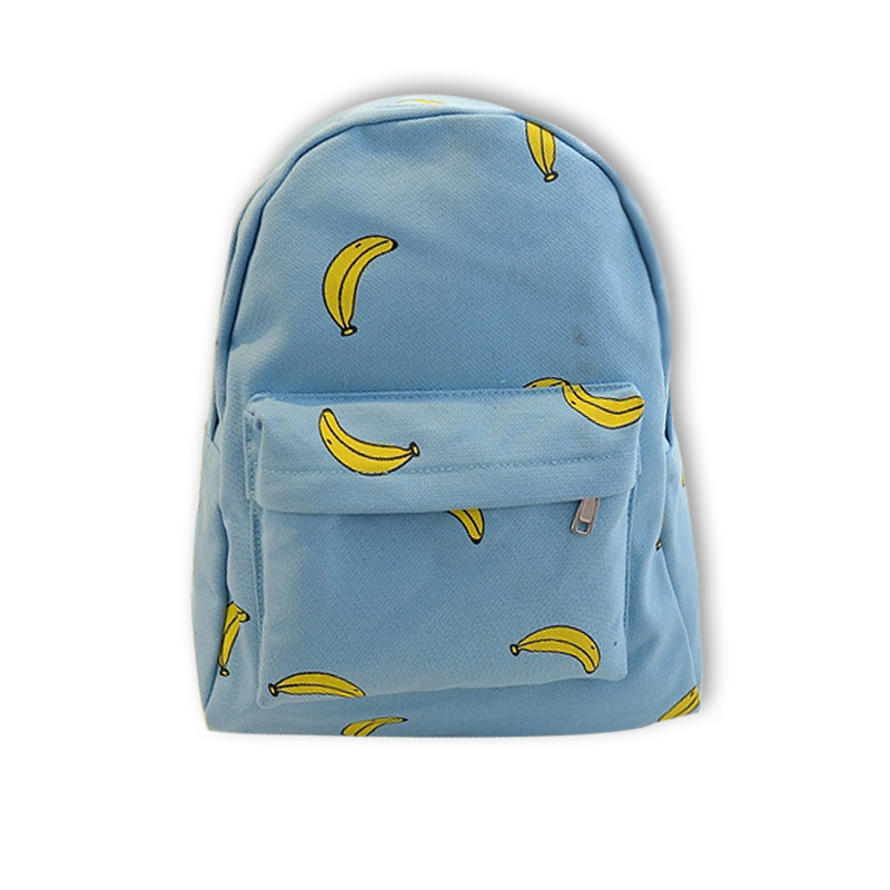 Hot !!! 2015 Fashion Canvas Printing Backpack Banana Women Backpack Cute Girl School Bag Travel Bag College Rucksack mochila