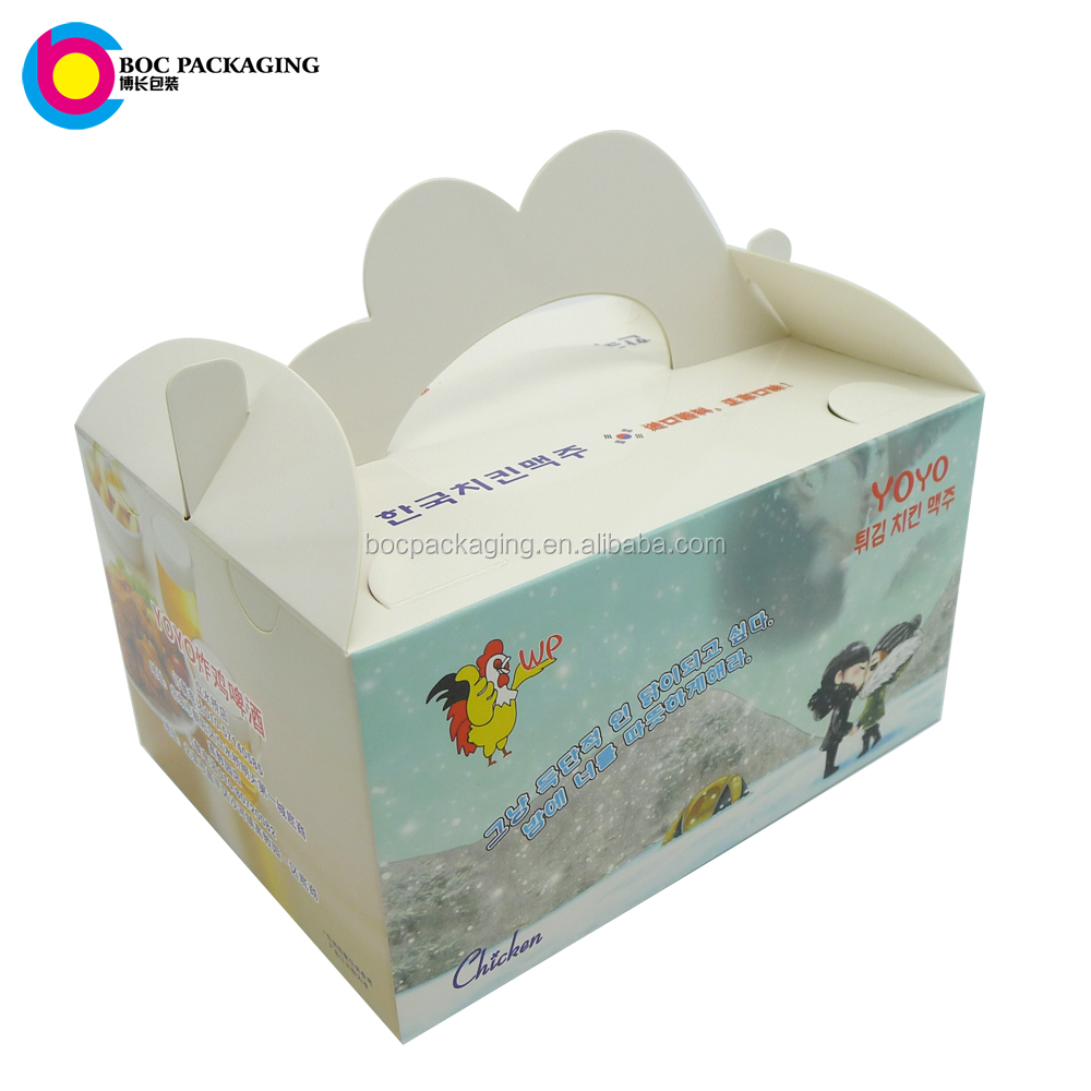 LOW MOQ NO MINIMUM LOW PRICE custom made hand carry chicken fryer fastfood boxes