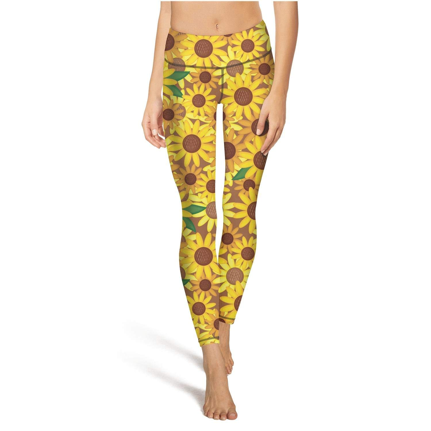 8b9f20f49905 Get Quotations · black ink tigers yellow sunflowers floral womens Printed  cute yoga pants yoga pants