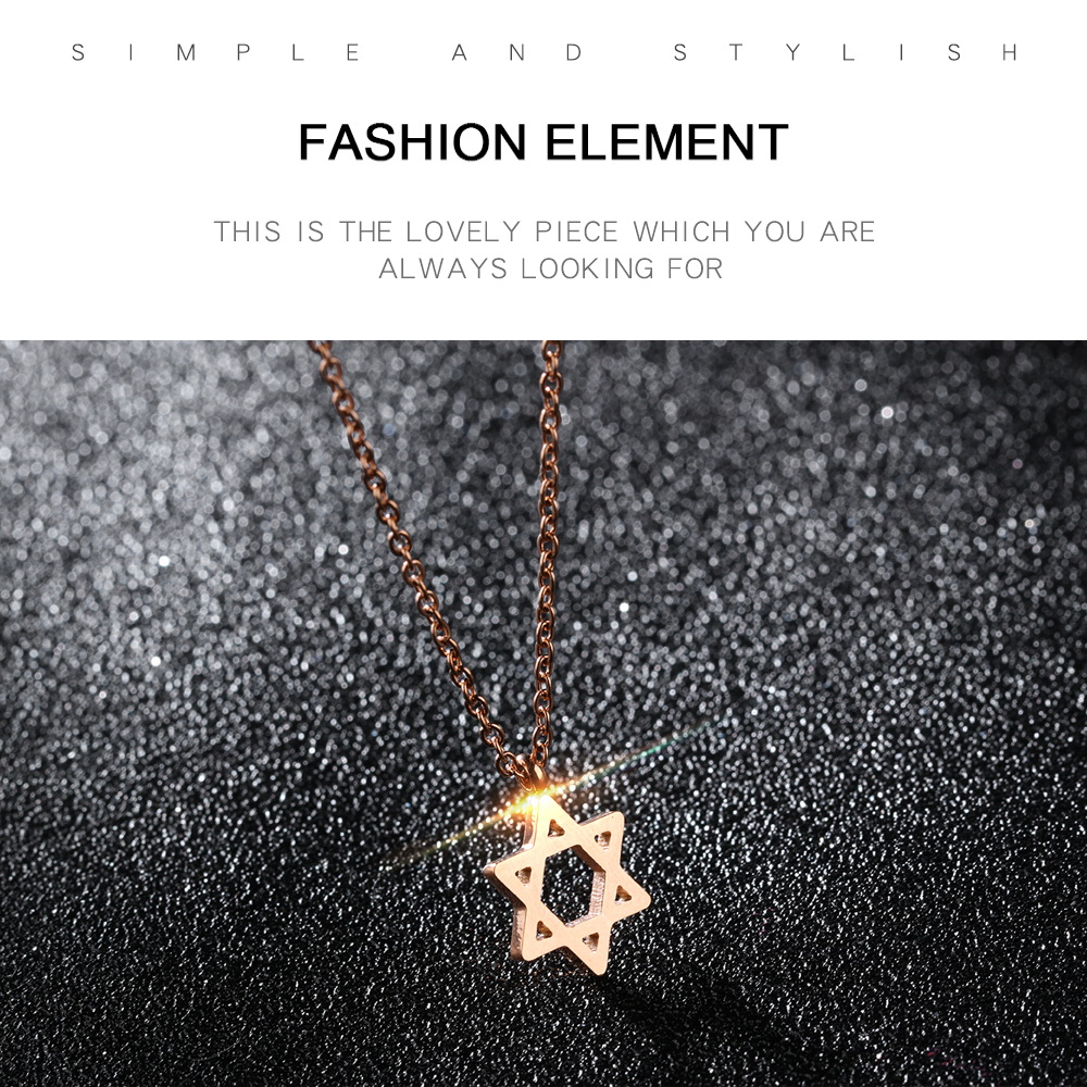 Wholesale Girls Jewelry Rose Gold Plated Six Pointrd Star Stainless Steel Hexagon Necklace