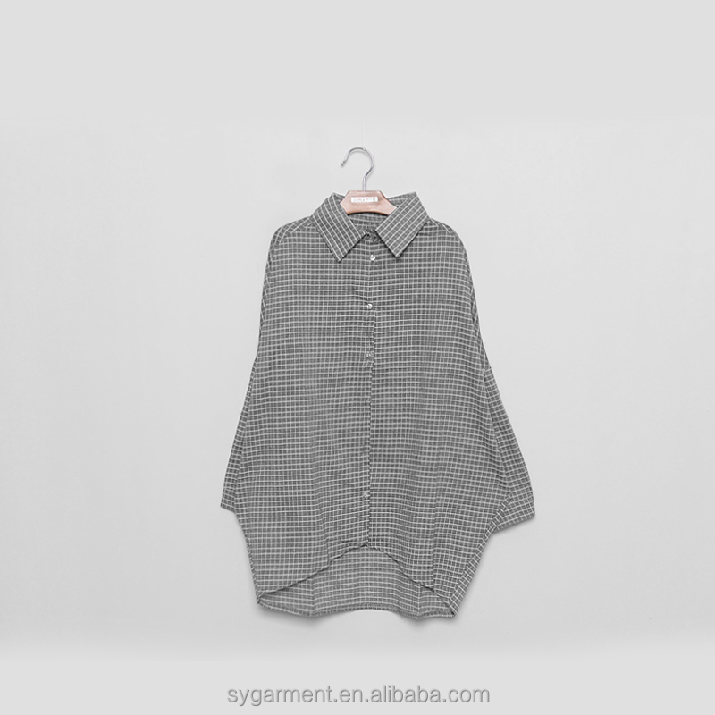 Women's Fashion Sky Blue Color Plaid Shirt Lady Blouse - Buy Lady ...