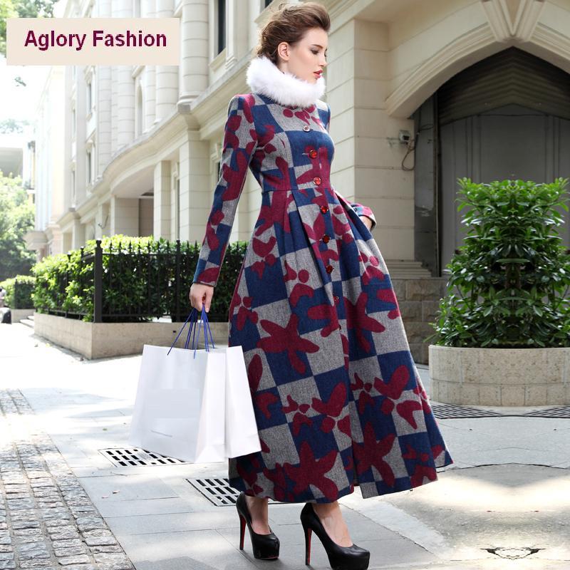 Xxxl! Новое мода британский стиль 2015 женщины урожай классический плед печать однобортный теплые толстые шерстяные длинные пальто