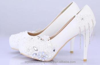 Hot Sale 2017 Womenu0027s High Heels Wedding Shoes 10cm Heel Silver Rhinestone  Sweet Flower Bridal Shoes