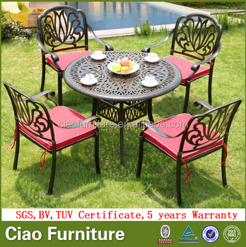 All Weather Cast Aluminum Outdoor Dining Table Set Garden Furniture