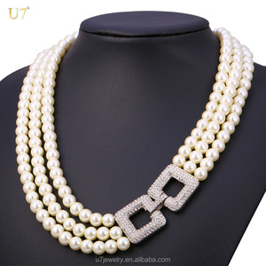 2017 Beaded Party Necklace new artificial women multi layer pearl necklace designs with box