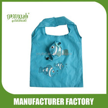 Wholesale Supply Stock Promotional Fish Shape Foldable Shopping Bag/Custom Polyester Folding Recycle Shopping Bag Into Pouch