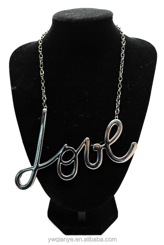2015 promotion fashion jewelry coin love letter pendant necklace