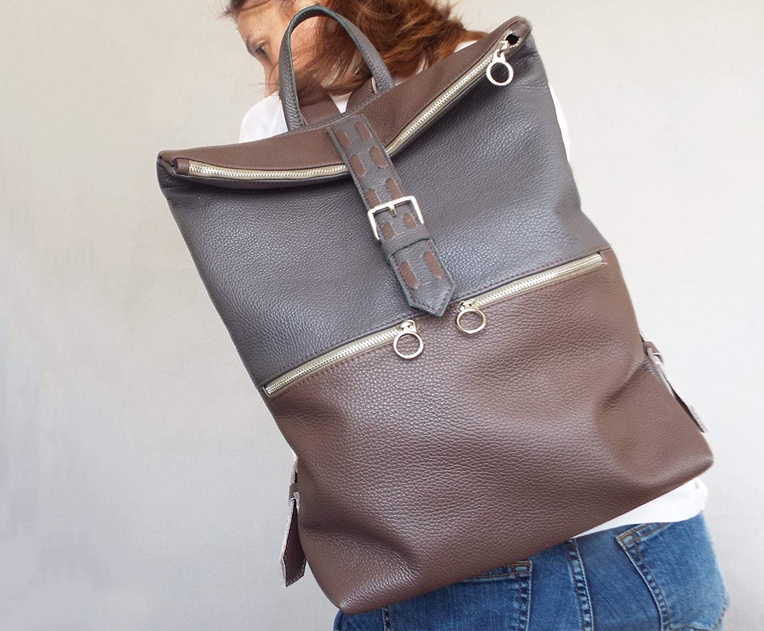 fe6c97d7e8 Get Quotations · Leather backpack. Leather rucksack. Laptop bag leather.  Gray brown leather backpack women.