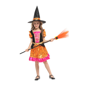 Gift Tower Factory 2019 New Design Little Fancy Witch for Halloween Carnival Theme Party School Performance Costume Dress