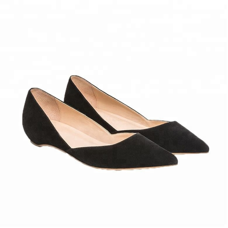 Women black Kid Suede Cut-out Pointed Toe Fashion ladies flat shoes