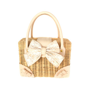 CANE STRAW BAG with PU strap and PU ornament,straw bag beach