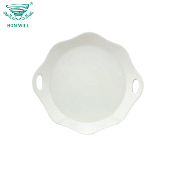 Wholesale ceramic white two ear flower side decoration dinner plate
