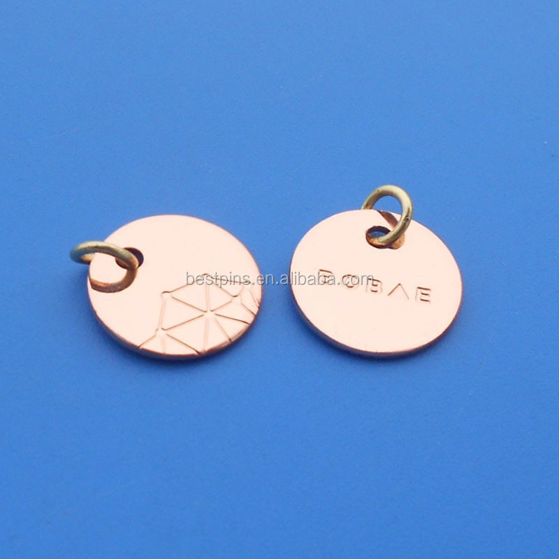 custom metal jewelry tags rose gold plated engraved brand logo