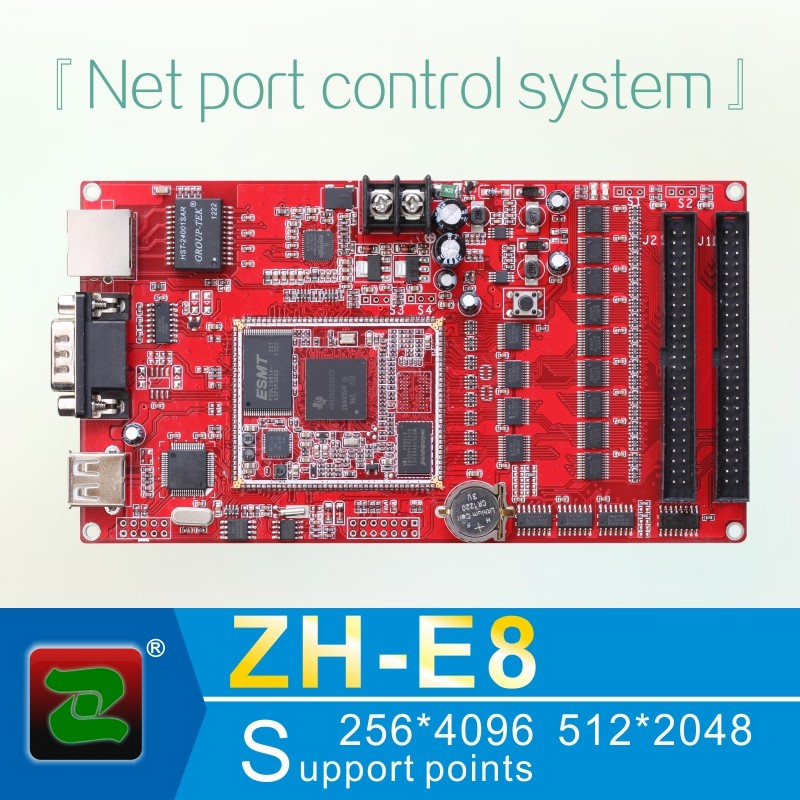 Zhonghang net port led screen controller card ZH-E8 support big area 256*4096 512*2048