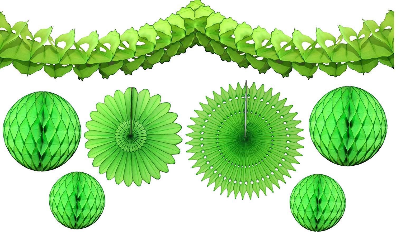 7-piece Lime Green Honeycomb Party Decoration Set - Balls, Fans, Garland