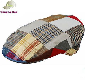 525ef825 Men's Plaid Patchwork Newsboy Ivy Flat Cap Hat Quilted - Buy Ivy Hat ...