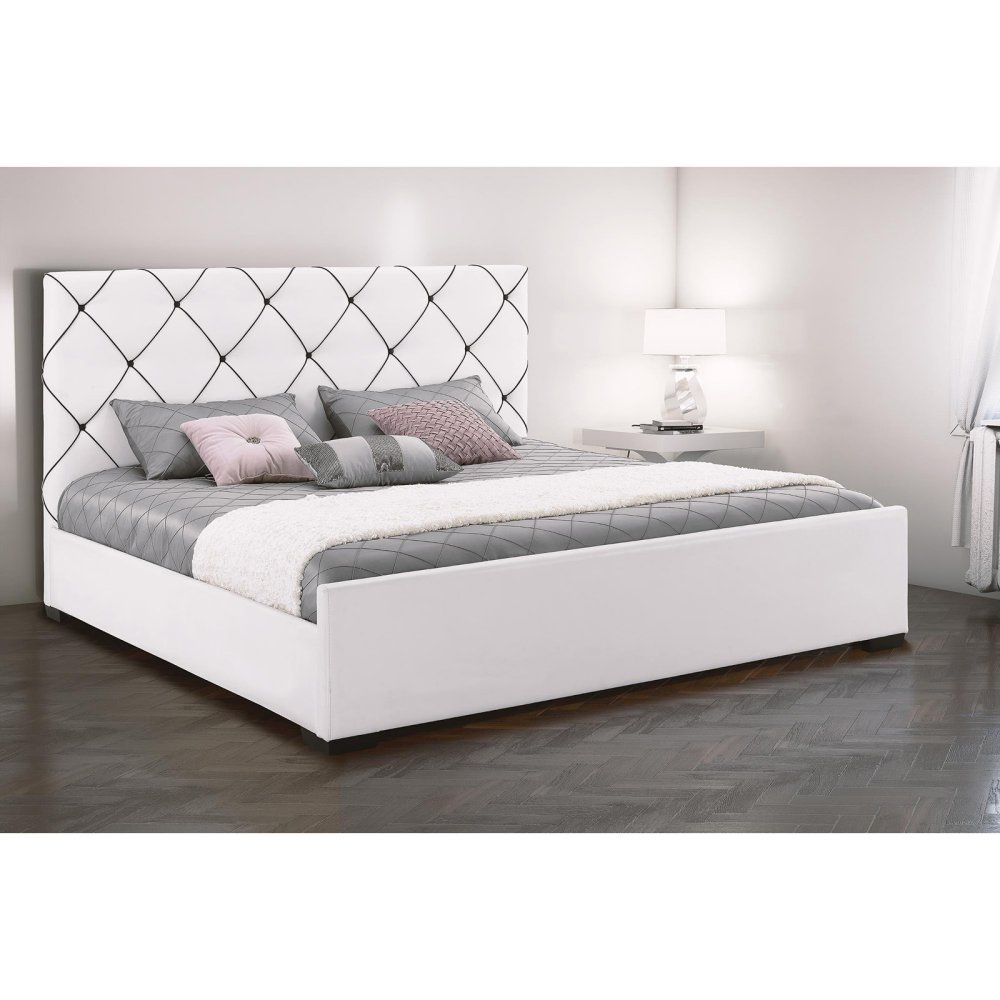 DHP Hollywood Premium Faux Leather Upholstered Queen Bed in White