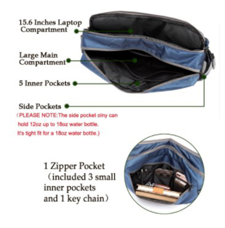 Waterproof  Nylon Satchel Shoulder Crossbody Messenger Bag For School Work Outdoor