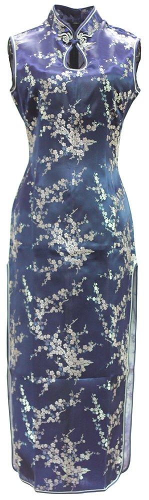 7Fairy Women's Vtg Navy Blue Keyhole Long Cheongsam Chinese Dress