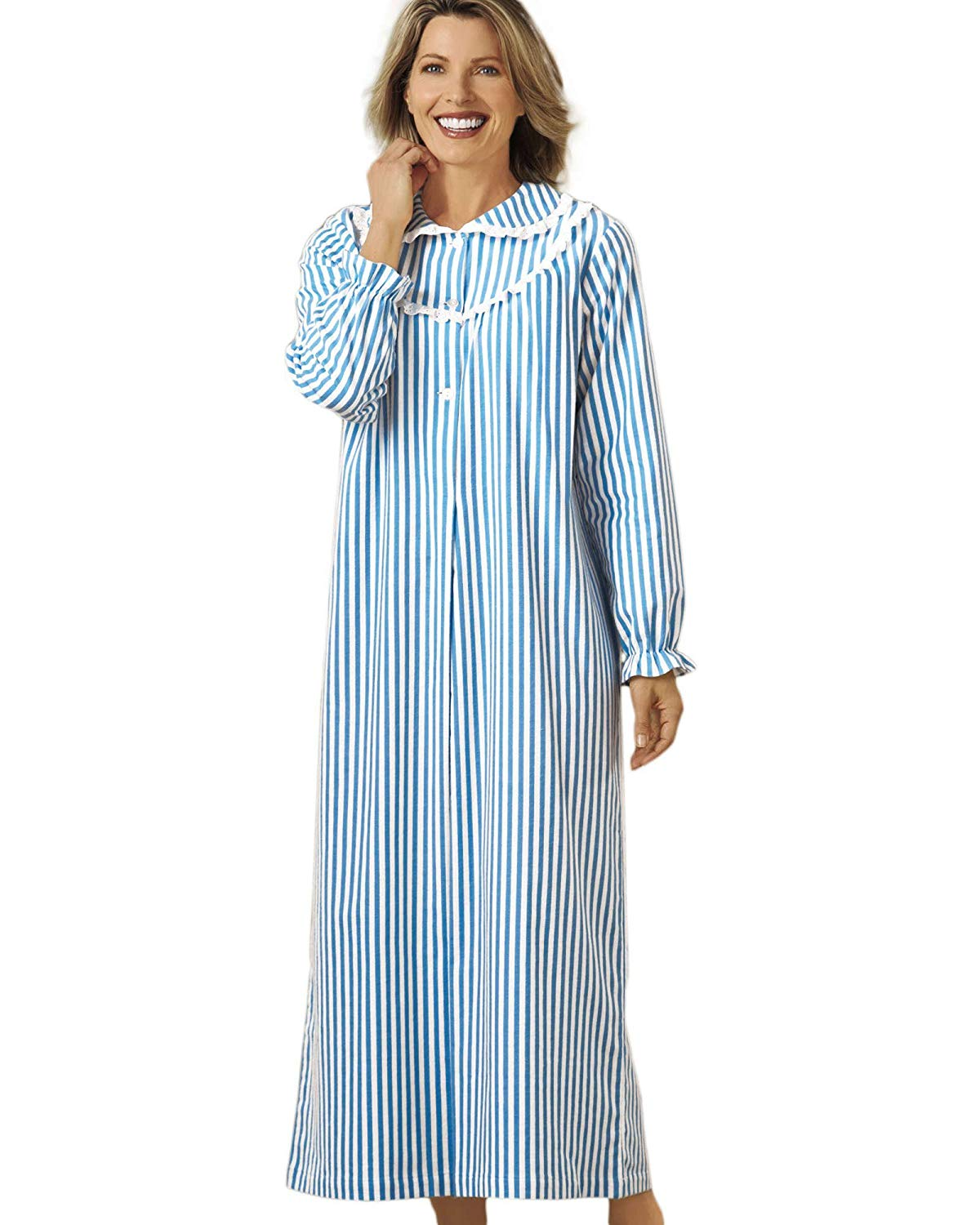 Get Quotations · National Striped Flannel Nightgown - Womens Long 3ef880c86