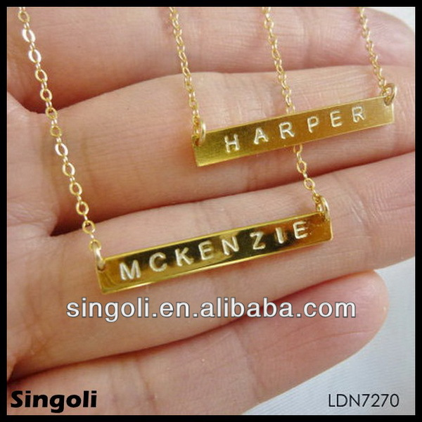Delicate high quality monogram necklace tiny gold bar necklace delicate high quality monogram necklace tiny gold bar necklace pendant alphabets designs carve etter gold jewelry china factory buy high quality monogram aloadofball Gallery