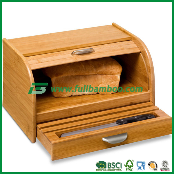 Bamboo Bread Container with Cutting board set