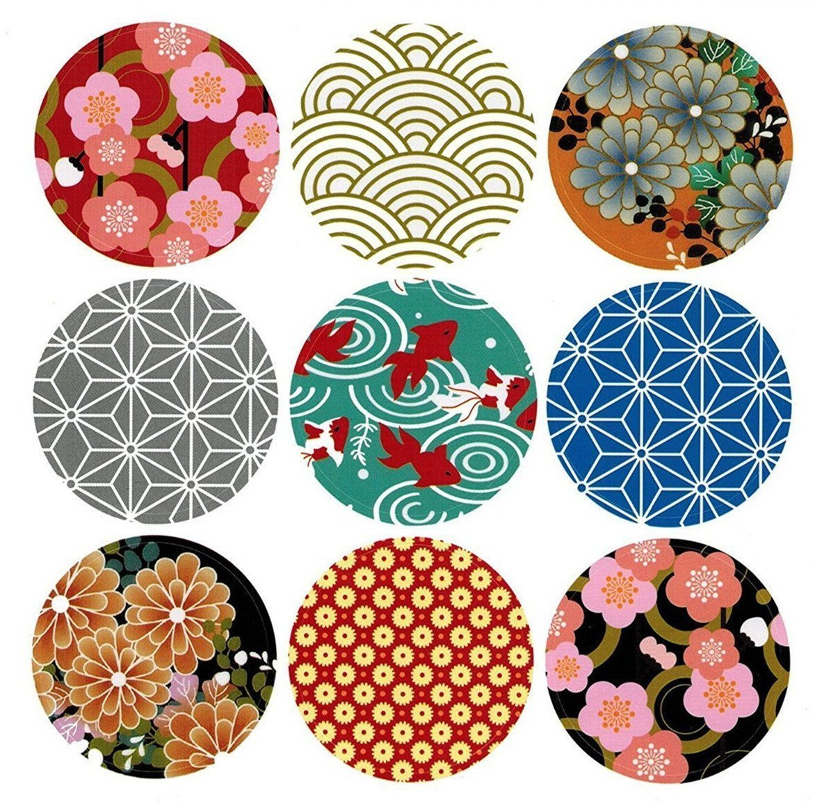 Abbonna Japan Traditional Style Japanese Pattern Stickers Self-Adhesive Universal Sealing Crafts Handmade Baked Envelope Label Decorative Labels 90 Pcs/10 sheets, Unique Design