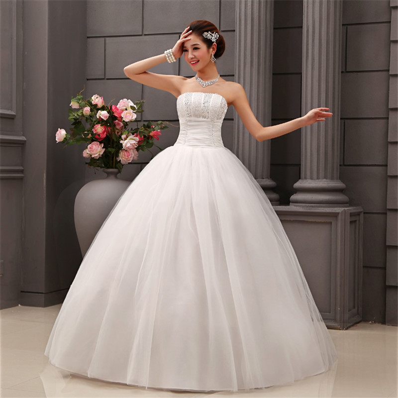 HOT Free Shipping White Princess Wedding Dress 2015 Plus