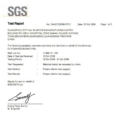 SGS test report of PU foam keyboard pad