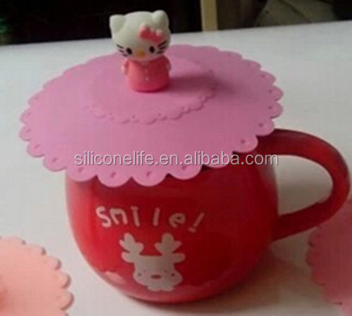 hot products cute design tableware silicone cup lid