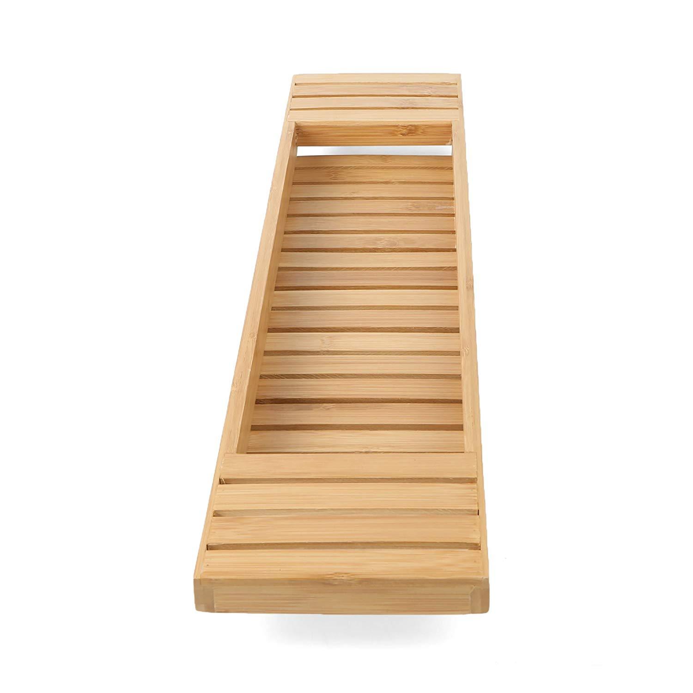 High quality natural bamboo bathtub caddy tray organizer 3