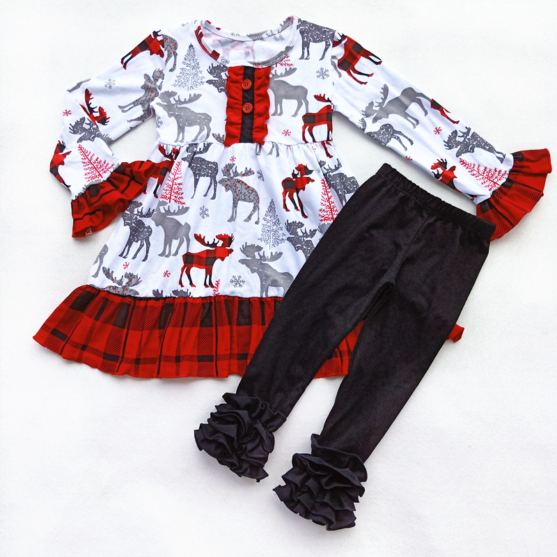 Girls christmas set wholesale boutique red plaid elf pattern button dress top ruffle bottom pant kids fashion set