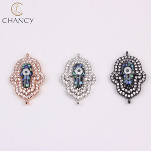 Wholesale jewelry accessories cz stone opal hamsa evil eye for bracelet making