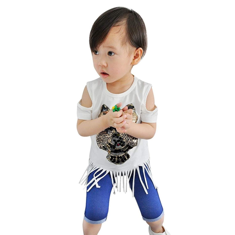 8109b78c4fac1 Get Quotations · IEason Clearance Children Kid Girls Owl Sequined Tassel  Backless T-Shirt Summer Tops Shirts Tee
