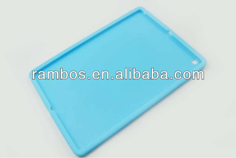 Rubber silicone skin protector case baby blue for iPad 5
