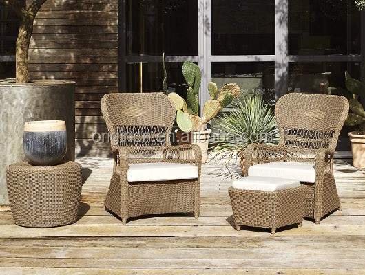European vintage style home outdoor lounge rattan furniture set garden table and chairs for tea