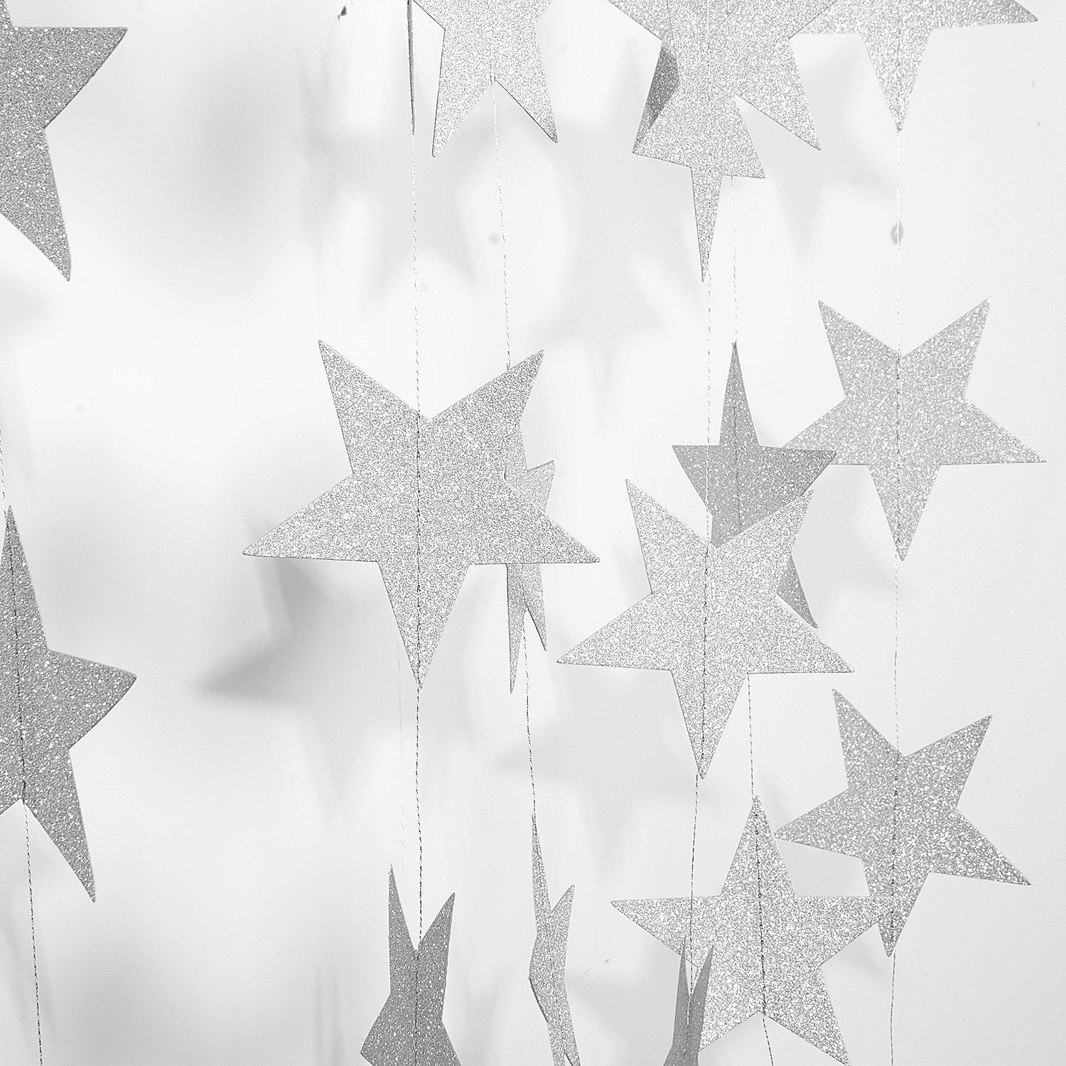 Takefuns Silver Star Garland Silvery Christmas galaxy banner,Twinkle Little Star String garland Christmas garland for Wedding Birthday Party Baby Shower Decorations(4 inch in Diameter, 13 Feet)