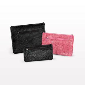 Factory direct embossed paisley pattern felt makeup bag with zipper closure clutch leather cosmetic pouch