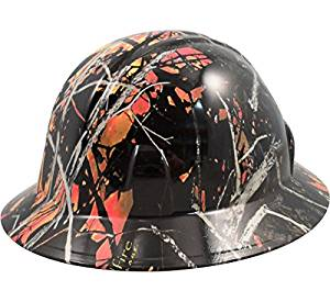 Texas America Safety Company Wildfire Camo Full Brim Style Hydro Dipped Hard Hat