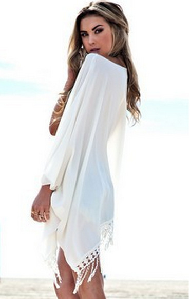 b5f9238a892b4 Get Quotations · 2015 White Chiffon Beach Dress Sexy Casual Party Dress  Tassel Floral Lace Crochet Dresses Retro Swimwear