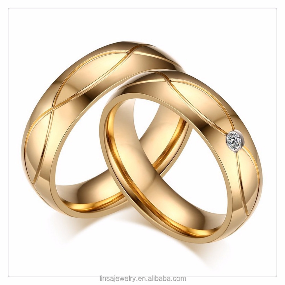 New 18k Gold Rings Design 2018 Stainless Steel Couple Wedding