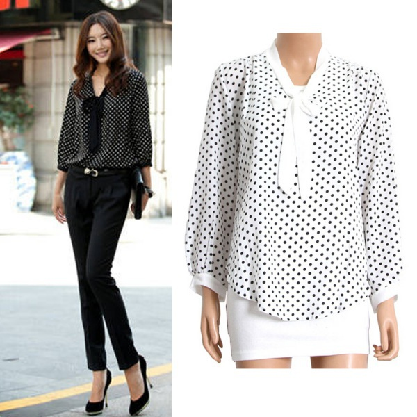Get Quotations Hot Fashion Women Bow Neck Polka Dotted Blouses Summer Dressy Tops Black White S M L Best