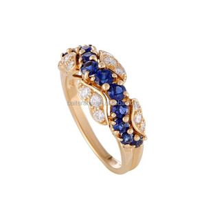 Gold Plated 925 Sterling Silver AAA Cubic Zirconia Diamond Round Cut Blue Sapphire CZ Wedding Engagement Ring