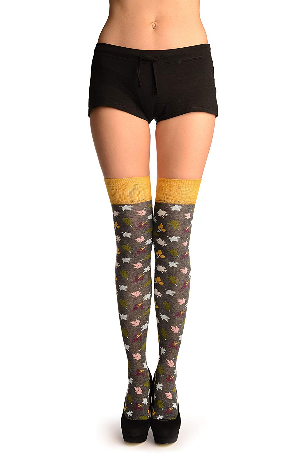 92d0a02a9 Get Quotations · Grey With Autumn Leaves Over The Knee Socks - Grey Floral  Over The Knee Socks
