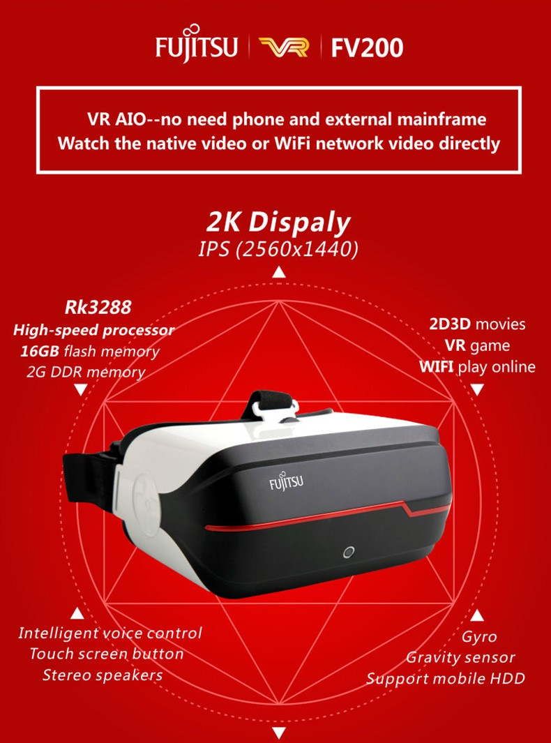 Fujitsu FV200 3D VR Video Glasses Virtual Reality All In One VR 2K Bluetooth Stereo WIFI Headset