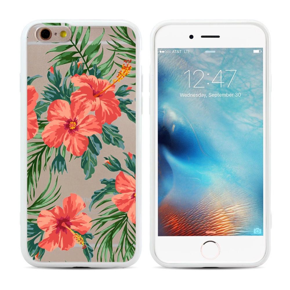 Чехол пластиковый с индивидуальным дизайном «Листья и цветы» для iPhone