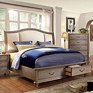 Get Quotations · Norco Transitional Style Rustic Weathered Oak Finish Queen  Size Bed Frame Set