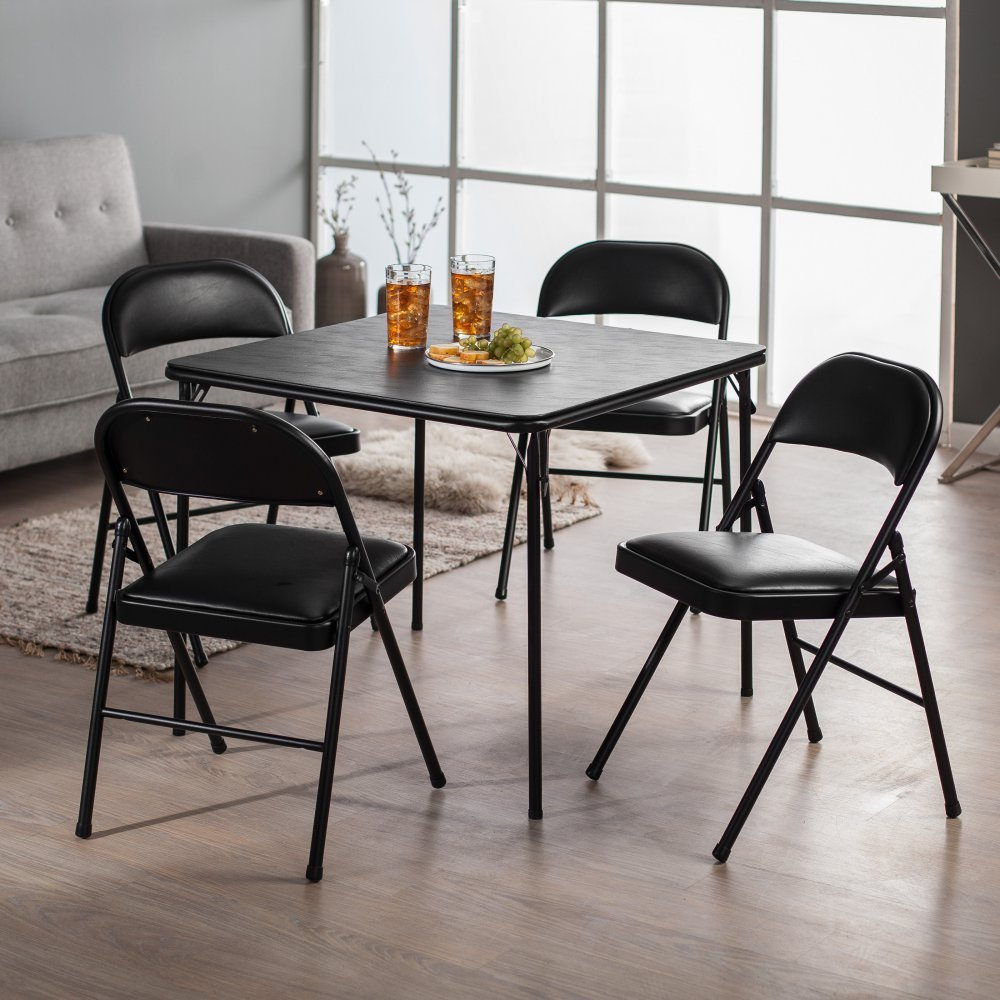 Meco Sudden Comfort Deluxe Double Padded Chair and Back- 5 Piece Card Table Set -
